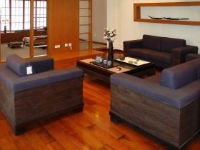中式客厅木地板砖装修效果图