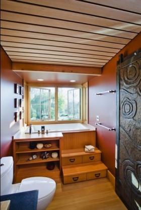 木艺朴质的小户型卫生间装修效果图大全
