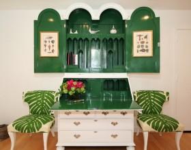 干净清爽的绿色系客厅一角