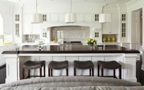 北欧清新的三室两厅厨房吧台装修效果图大全