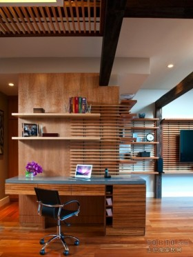 现代原木调三居室书房装修效果图大全2013图片