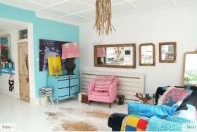 色彩明朗的田园风格小户型客厅装修效果图
