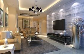 浪漫简约的三居室客厅电视背景墙装修效果图大全