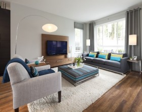 15万打造清新简欧风格三居客厅电视背景墙装修效果图大全