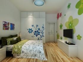 50万打造90平米地中海风格家居卧室电视背景墙装修设计