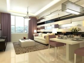素雅简约的二居室客厅沙发背景墙装修效果图大全