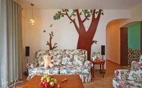 浪漫的田园风格两室一厅背景墙装修效果图