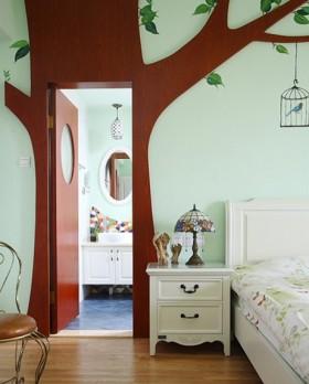浪漫的田园风格两室一厅卧室玄关装修效果图