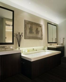 含有很强中式元素的简约风格卫生间洗手台装修效果图图片