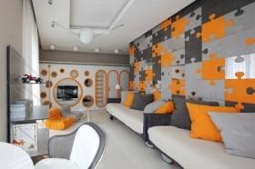 现代二居室客厅沙发背景墙装修效果图大全