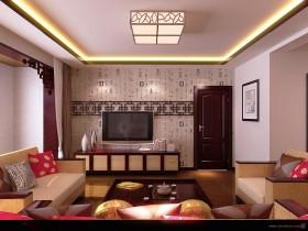二居室客厅电视背景墙装修效果图