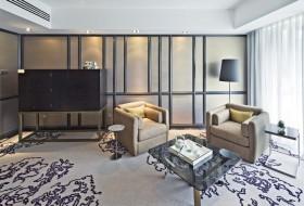 豪华打造的120平后现代装修风格客厅图片