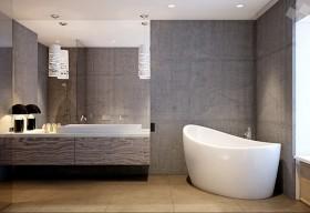 现代时尚三居室卫生间浴缸装修效果图大全