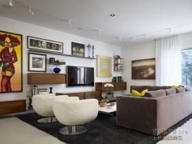 三室一厅现代风格客厅电视背景墙装修效果图大全2012图片