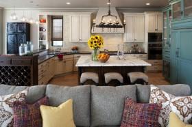 宏发上域地中海装修厨房全貌设计效果图