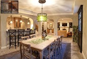 地中海餐厅天然大理石餐桌图片
