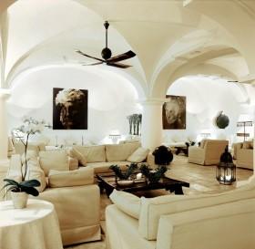 别墅图片 欧式简约别墅客厅米白色沙发图片