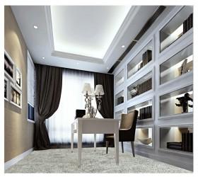 西溪蝶园欧式华丽的三居室书房装修效果图
