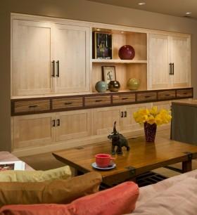 10万打造简约日式风格博古架客厅装修效果图大全