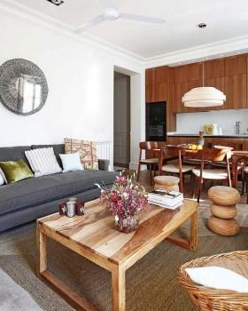 小三居宜家风格开放式客餐厅装修效果图 木艺质朴