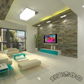 现代三居客厅电视背景墙装修效果图