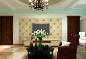 自然古朴的二居室客厅电视背景装修效果图大全