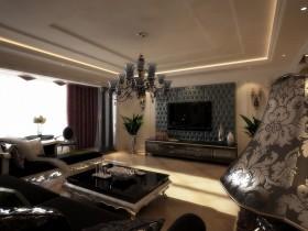 长春紫玉华府的三居室客厅电视背景墙样板房设计