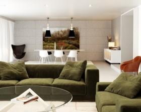 绿色宁谧的两室一厅浪漫客厅装修效果