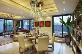 90㎡小户型中式现代婚房装修 领略古典美餐厅吊顶效果图