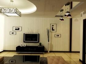 两房一厅现代简约风格客厅电视背景墙装修效果图