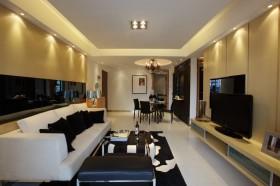 三室两厅简约风格客厅电视背景墙装修效果图