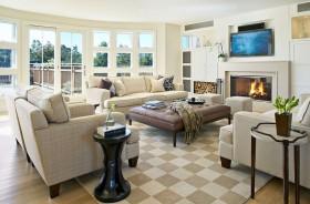 140㎡三室两厅欧式风格客厅装修效果图大全