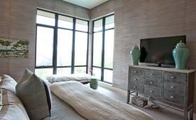 北欧清新两室一厅宜人的卧室电视背景墙装修效果图