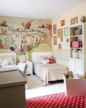 欧式田园小卧室装修效果图大全 卧室床头手绘背景墙图片