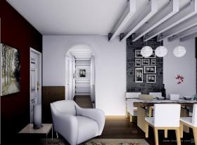 90平米小户型现代简约餐厅装修效果图大全2012图片