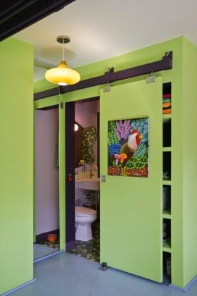 卫生间隐形装修效果图 绿色卫生间隐形设计