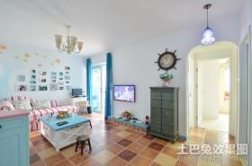 蓝色地中海小户型客厅装修效果图大全2012图片