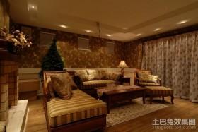 美式田园风格客厅装修效果图大全2012图片