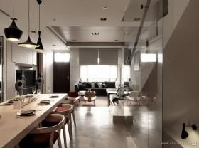 灰色调素雅的复式餐厅装修效果图大全2012图片