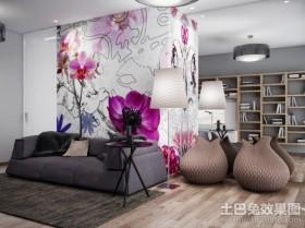 鲜花盛开的客厅背景墙装修效果图