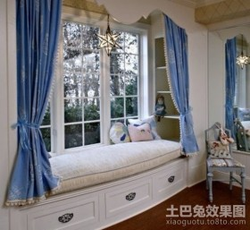 室内阳台飘窗窗帘设计效果图