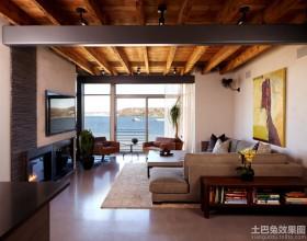 现代风客厅电视背景墙设计效果图