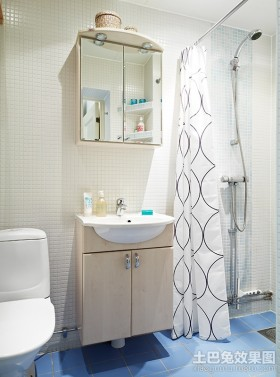 空间公寓50平米蓝白清新的公寓小卫生间装修效果图大全2012图片