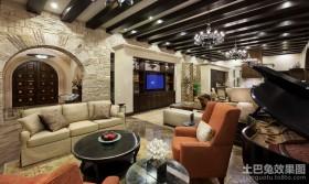 美式低调奢华的四居室客厅装修效果图大全2012图片