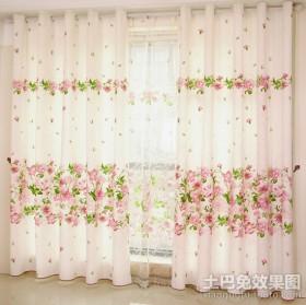 田园客厅窗帘效果图