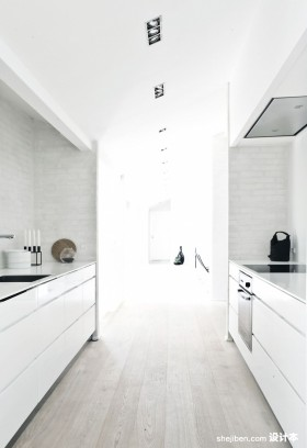白色极简复式楼厨房装修效果图大全