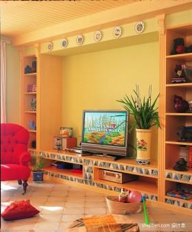 田园风格客厅电视背景墙装修效果图大全