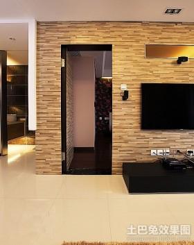 现代隐形门电视背景墙装修效果图