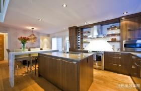 简约美式开放式厨房吧台装修效果图