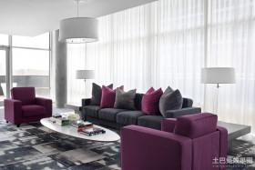 2012客厅装修效果图 紫色客厅效果图